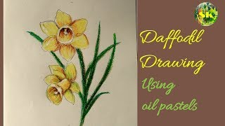 Daffodil flower drawing using oil pastels step by step for beginners