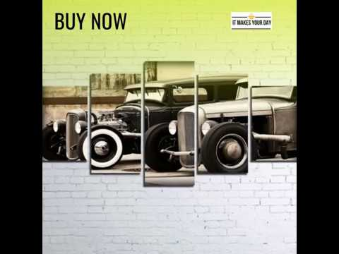 5 Piece Hot Rod Vintage Car Canvas Wall Art Paintings - YouTube