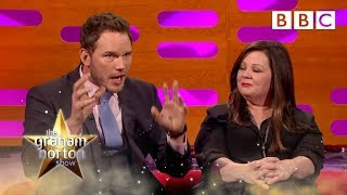 Melissa McCarthy and Chris Pratt's head shots - The Graham Norton Show - Episode 8 - BBC One