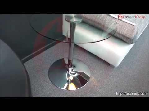 table ronde vinyl en m tal et verre tremp transparent chrom youtube. Black Bedroom Furniture Sets. Home Design Ideas