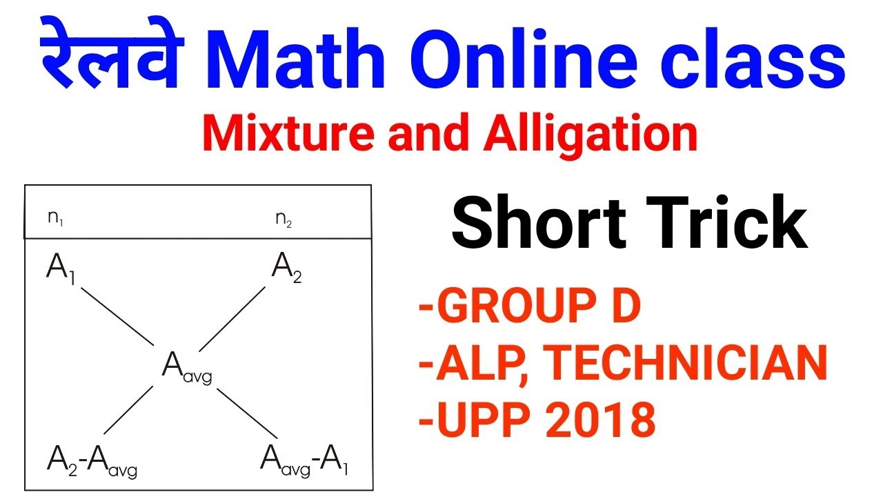 Railway Math short trick जरूर देखलेना //v imp Mixture and Alligation Short  trick part 1 [hindi]