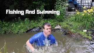 Catching Fish While I Am Swimming In My Mini Pond!