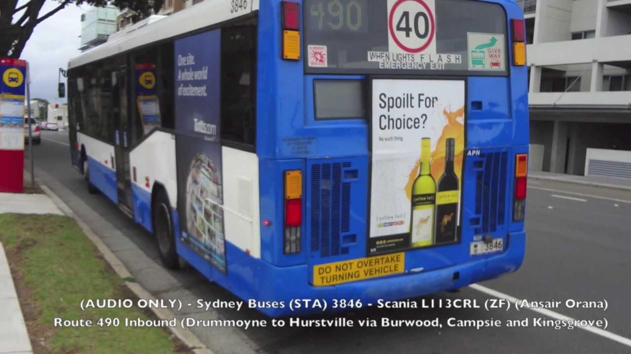 (AUDIO) Sydney Buses 3846 - Scania L113CRL (ZF) (Ansair Orana) - Route 490  Inbound