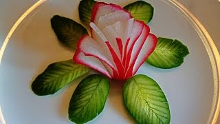 HOW TO MAKE FLOWERS  OF RADISHES! LEAVES OF CUCUMBER! CARVING RADISH AND CUCUMBER