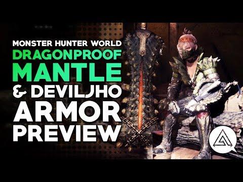 Monster Hunter World  New Dragonproof Mantle, Deviljho Alpha Armor & Greatsword