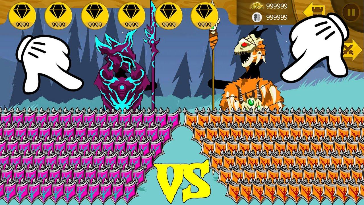 Stick War Legacy | MOD 9999 Army Items Vamp VS 9999 Army Items Savage | Stick War Legacy Fight