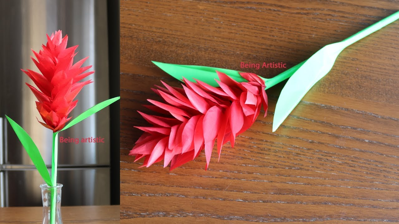 How To Make Red Ginger Paper Flower Paper Craft Handcraft Youtube