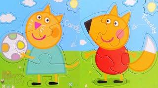 Кенди и Фредди друзья Пеппы! Собираем пазлы для малышей Свинка Пеппа | Merry Nika