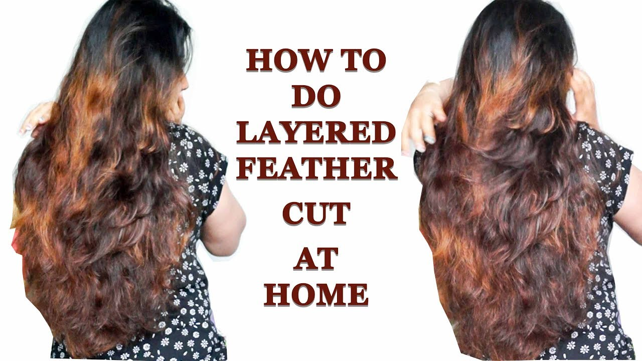 How to do Layered Feather cut at home in hindi step by step / घर पर बाल  कैसे काटे