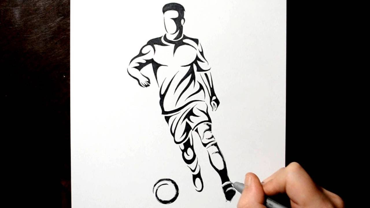 How to Draw a Tribal Soccer Football Player - YouTube