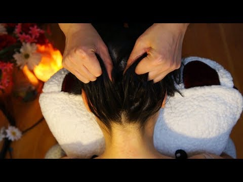 ASMR Invigorating Scalp Scratching Massage UP THE NAPE OF THE NECK W. Hair Pulling Technique!