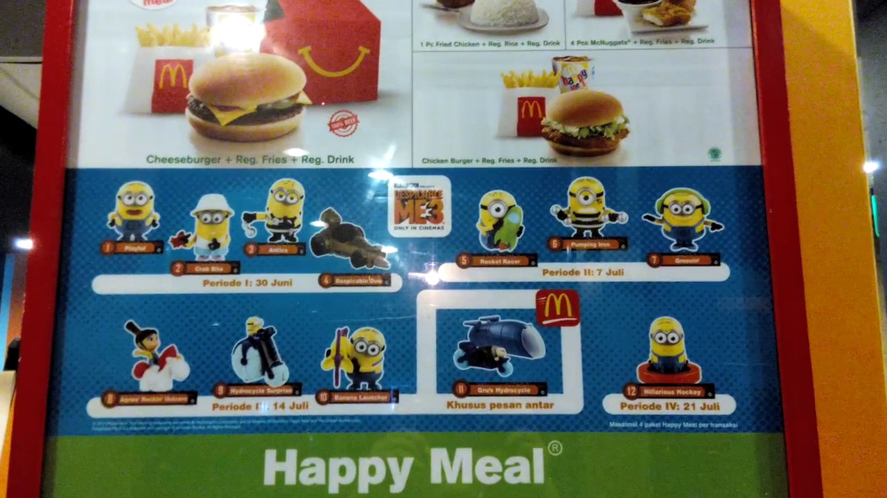 Despicable Me 3 McDonald's HAPPY MEAL TOYS INDONESIA - YouTube