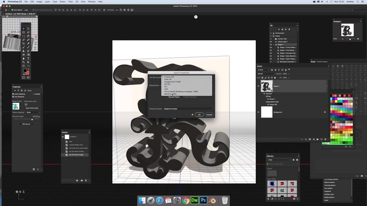 Export basic 3D models using Photoshop custom shapes (Intermediate) tutorial