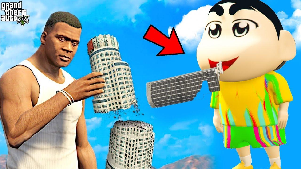 GTA 5 : Shinchan & FRANKLIN eat MAZE BANK BUILDING IN GTA 5!😱 (GTA 5 mods)