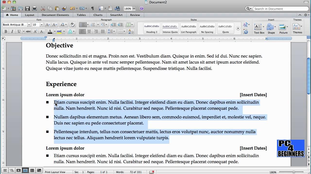 How To Create A Resume Using Microsoft Word Youtube