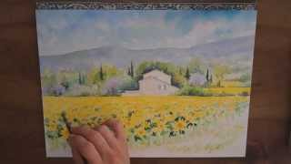 dmo aquarelle la maison aux tournesols watercolor tutorial sunflowers