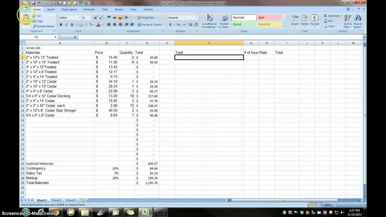 1 Estimating With Excel For The Small Contractor Youtube