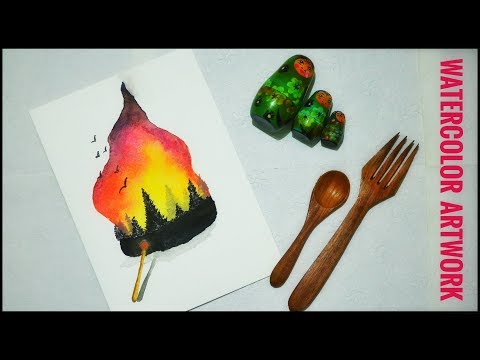 watercolor artwork of landscape on flame with watercolor cakes