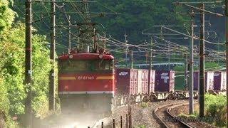 JR貨物 EF67 105号機 砂撒き開始の瞬間♪ 貨物列車5070レ 瀬野→八本松 2013.5