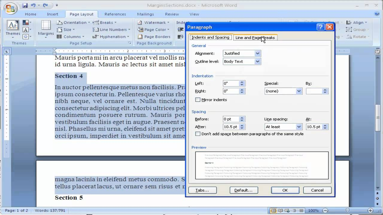 How to keep text together in Microsoft Word 2007