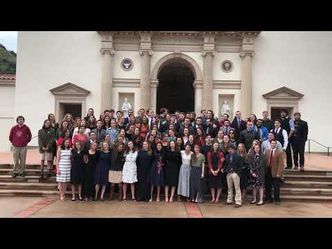 "The Class of 2020 sings  ""Non nobis, Domine, non nobis, sed nomini Tuo da gloriam"""