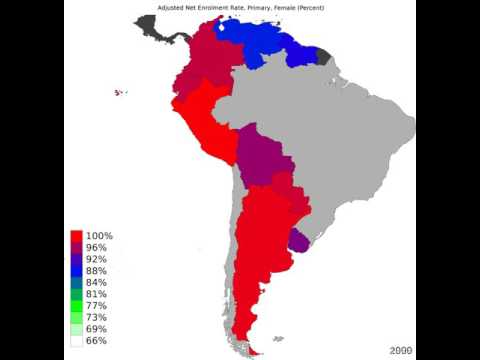 South America - Adjusted Net Enrolment Rate, Primary, Female - Time Lapse
