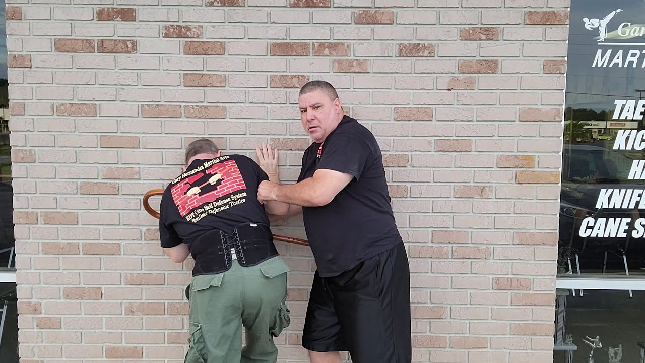 Cane Self Defense with getting someone off you with leverage that has you pinned against a wall.