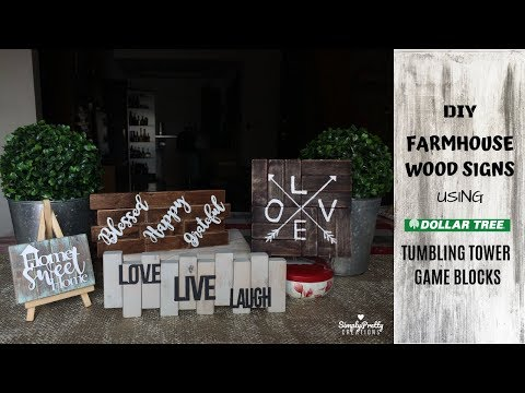 FARMHOUSE WOOD SIGNS | DIY using Dollar Tree Tumbling Tower Game | SimplyPretty Creations |