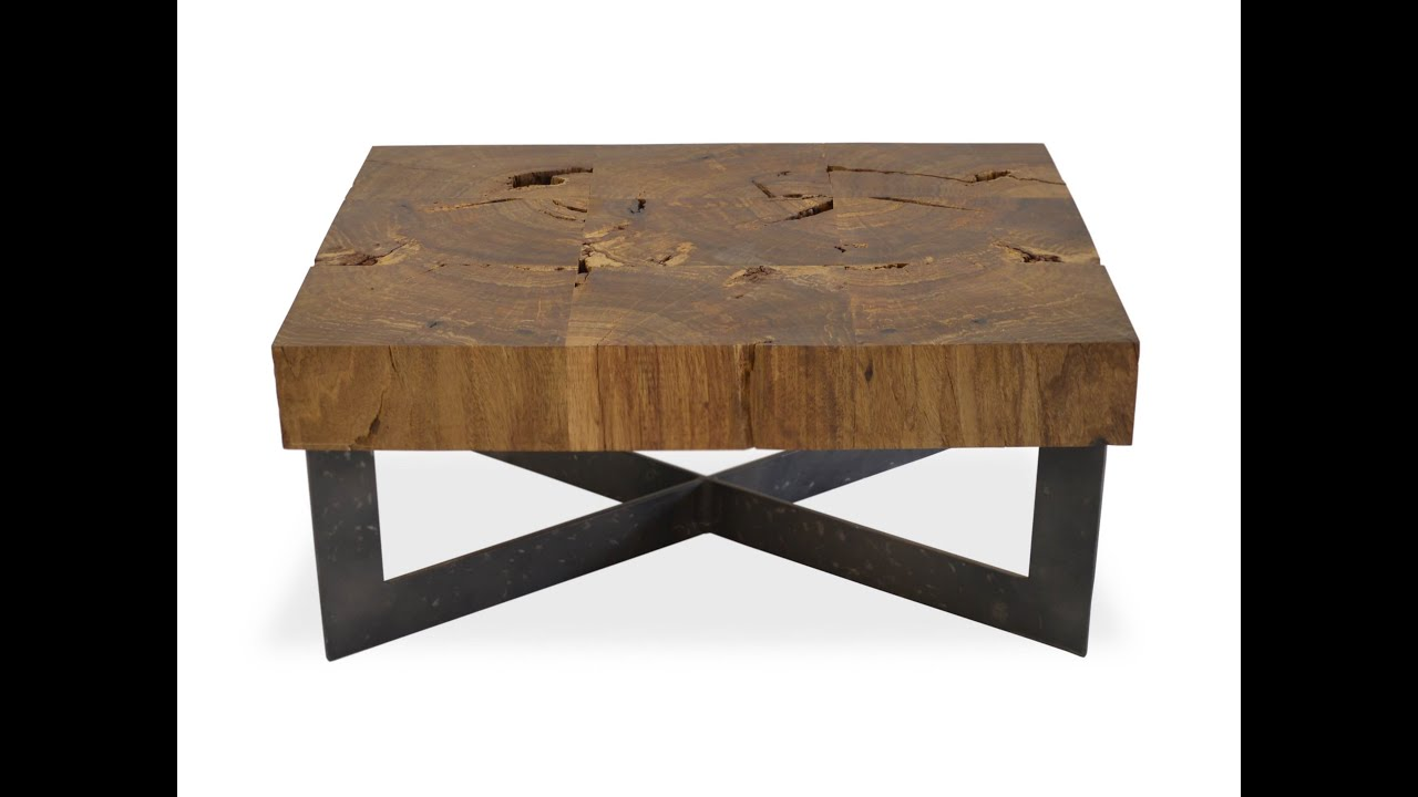 Creative Steel and Refurbished Wood Coffee Table