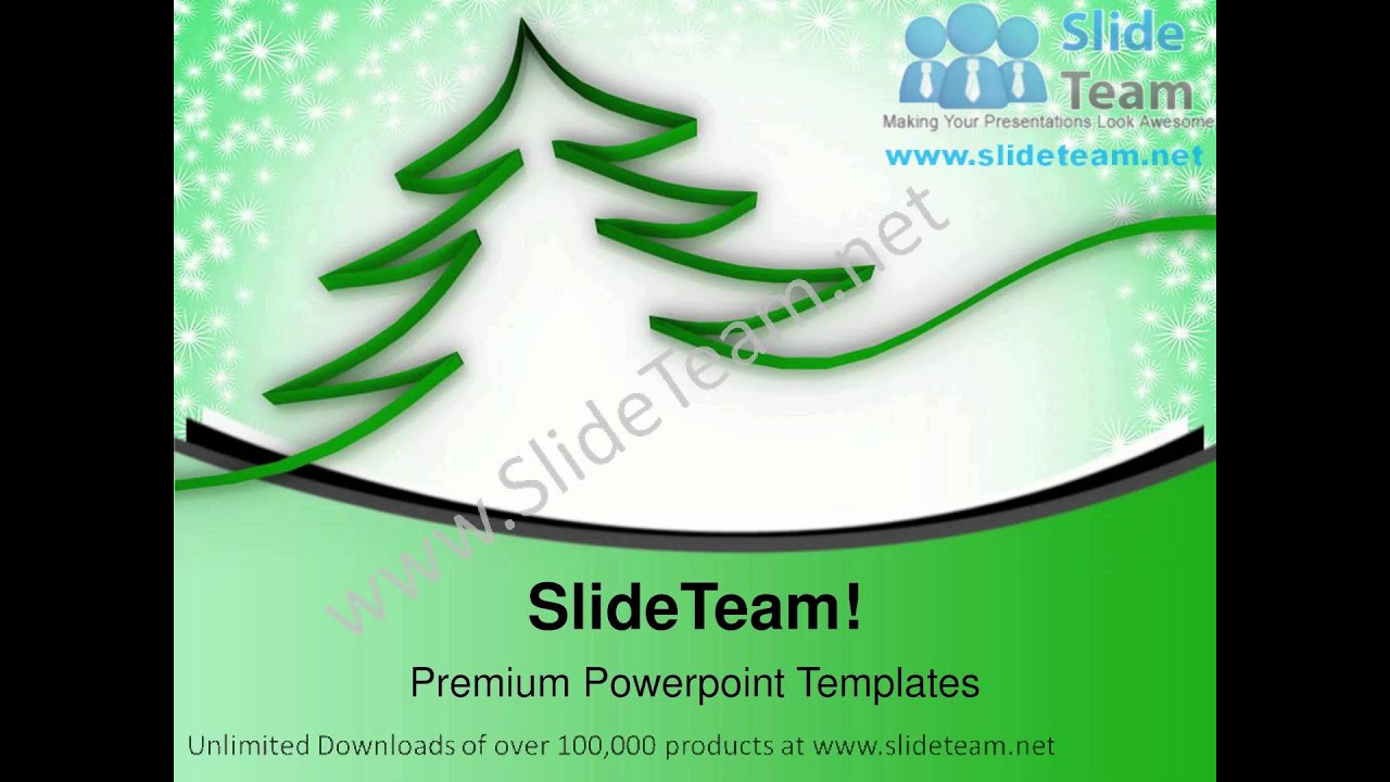 Christmas Tree With Ribbon Abstract Powerpoint Templates Ppt