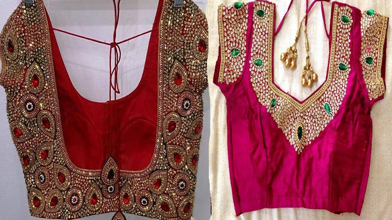 Top bridal silk saree blouse back neck designs youtube videos youtube