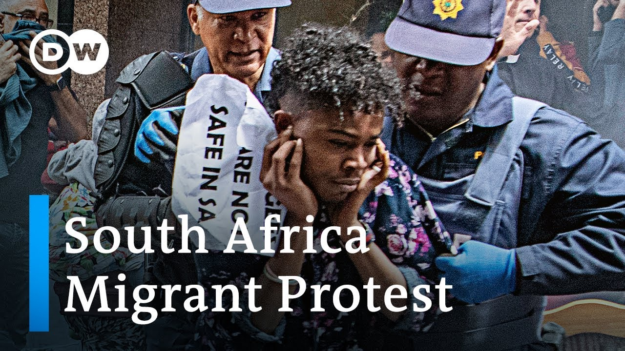 Clashes between police and Migrant protesters being evicted from camp in South Africa