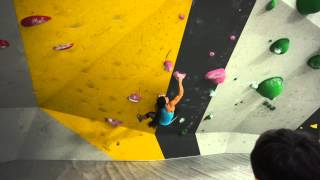 Nina Williams and Meagan Martin climb the Purple Problem at the ProLo Event at Momentum Lehi