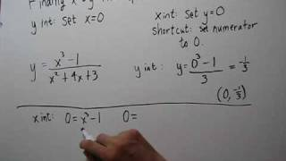 Finding the x and y Intercepts of Rational Functions