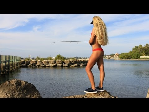 Girl Inshore Florida Saltwater Fishing For Snook And Big Jacks GoPro Video