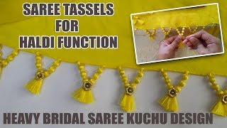 Heavy Bridal Saree Kuchu Design | Saree Tassels for Haldi Function | www.knottythreadz.com
