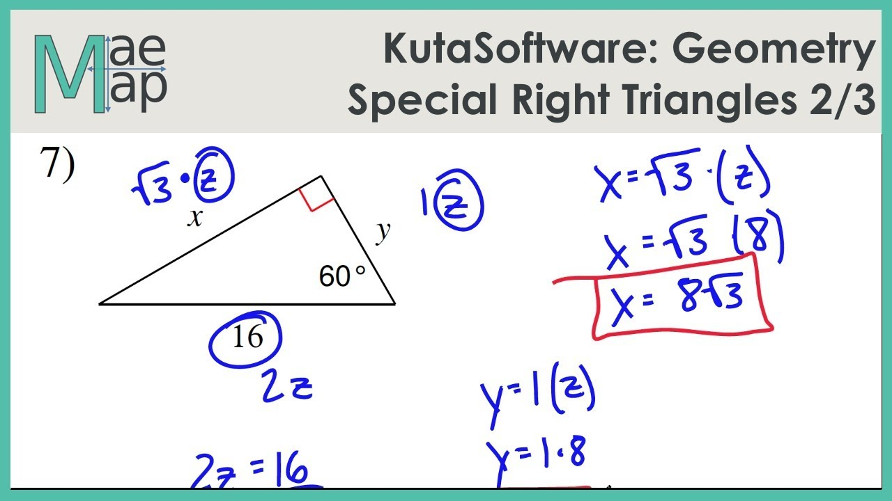 KutaSoftware: Geometry- Special Right Triangles Part 2