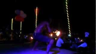 Ripped Cambodian Fire Juggler at Ploy Beach in Samet!