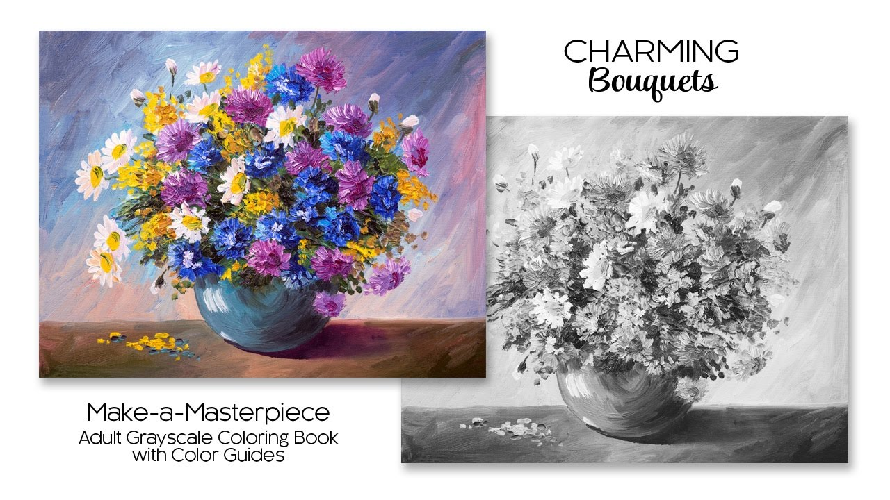 Charming Bouquets Adult Grayscale Coloring Book With Color Guides