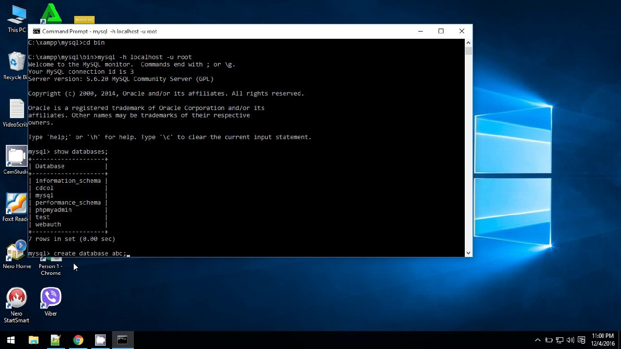 MySQL Database Tutorial - 2 - Mysql database through windows command line  (cmd)!