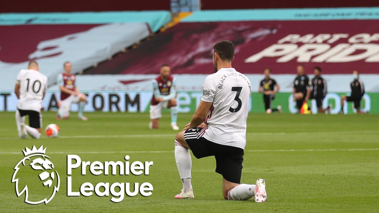 Premier League restarts as players take knee