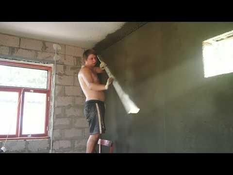 Штукатурка стен с помощью хоппер ковша и компрессора Moller