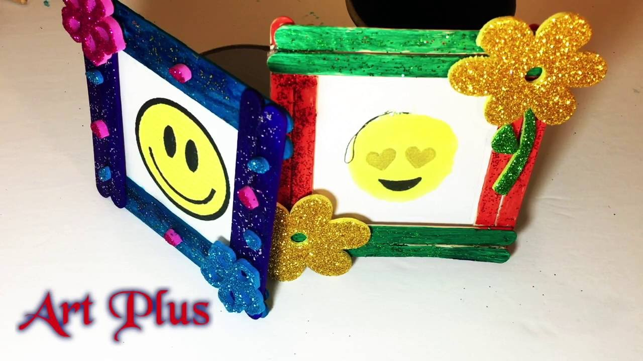Diy Craft Easy Photo Frame Popsicles Sticks Art Plus Youtube