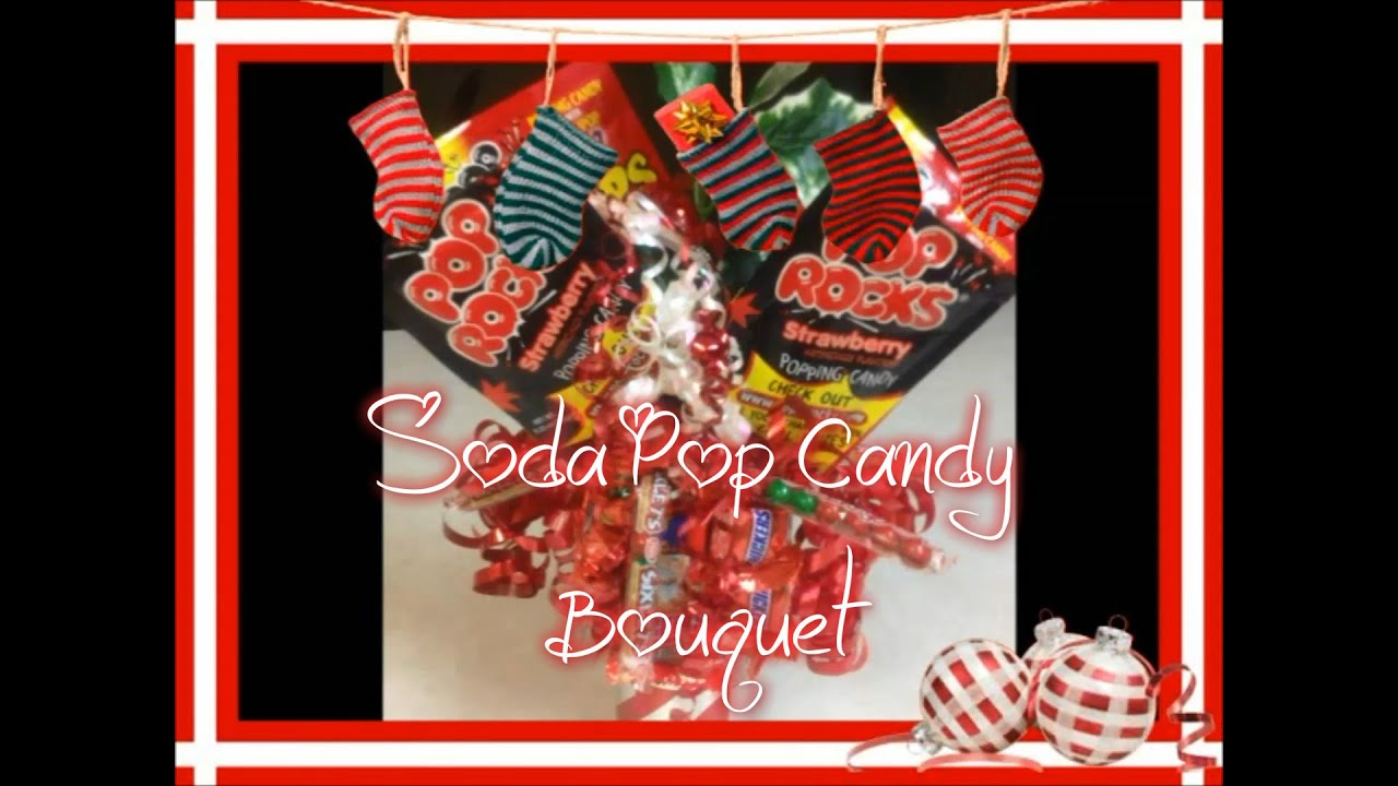 how to make a soda pop candy bouquet with snickers and sixlets for christmas - Christmas Candy Bouquet