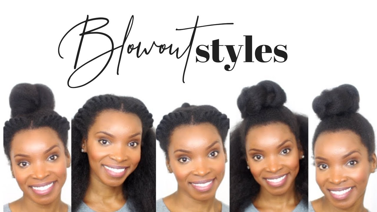 Natural Hair 5 Quick Easy Blowout Hairstyles Youtube