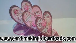 How To Make A Triple Heart Easel Card Www.card-making-downloads.com