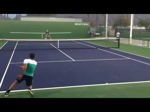 Janko Tipsarevic And Juan Monaco Practice Indian Wells 2013