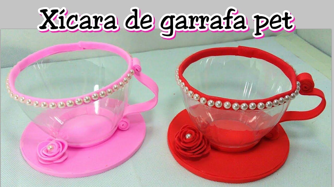 Xícara de garrafa pet Use como lembrancinha, decoraç u00e3o Reciclagem de garrafa pet #Artesanato