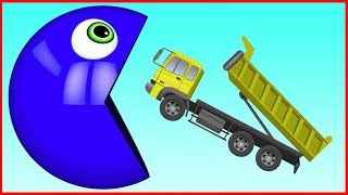 Learn Colors with Construction Vehicles and M&M Chocolate Soccer Ball Pretend Play Cars for Children