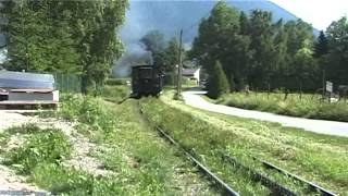 Schneebergbahn – cogwheel steam train in first section after leaving the station